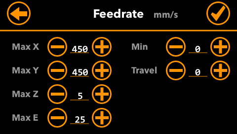 Feedrate-Settings